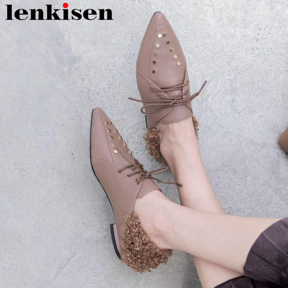 Lenkisen sweet girl pointed toe british school lace up genuine leather low heels leisure pumps rivets studded handmade shoes L30