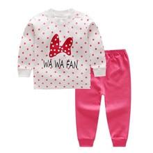Футболка с длинными рукавами и рисунком+ штаны пижамные комплекты для малышей из 2 предметов Одежда для новорожденных малышей и девочек
