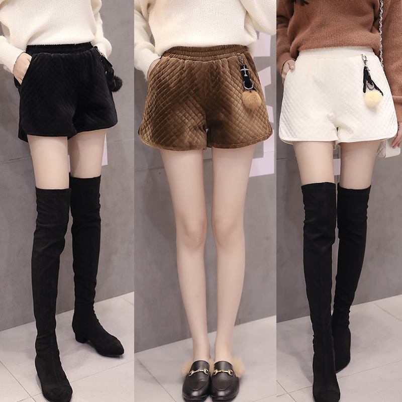 Autumn Winter Fashion Geometric Velour Shorts Women Vintage Pleuche Wide Leg Shorts Elastic Waist Warm Thick Female Shorts Mw126
