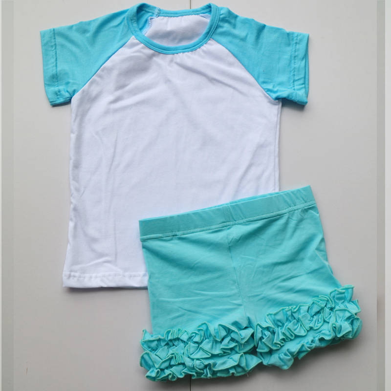 wholesale ruffle shorties set  children icing shorts raglan tee shirts sets baby girl outfits girl ruffle outfit summer dress