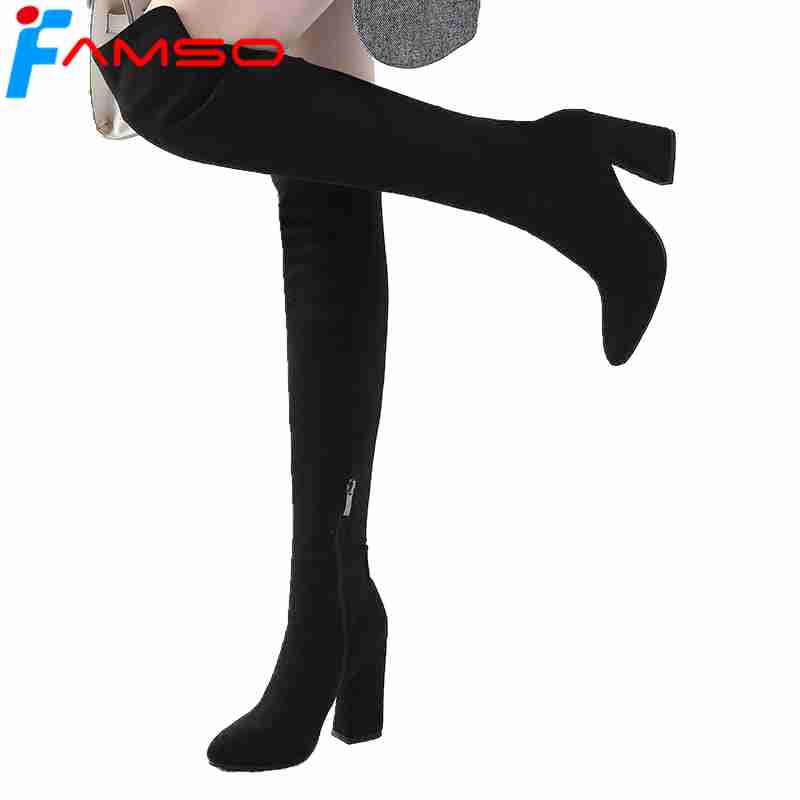 FAMSO 2018 Shoes Women Boots New Big Size 34-43 Heels Shoes Autumn Motorcycle Boots Designer Suede Over The Knee Boots Winter
