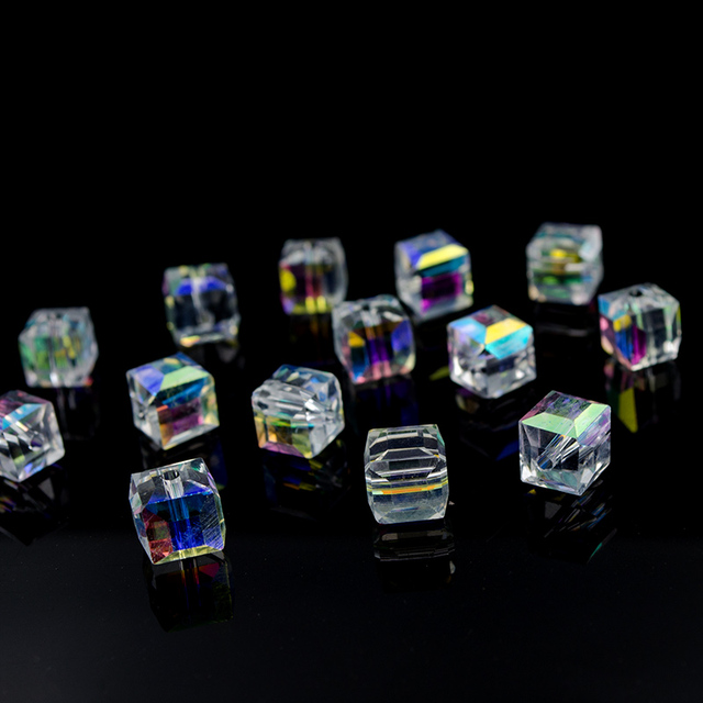 AB Color Crystal Square Beads For Jewelry Making Decorative Glass DIY Beads Material Crystal Cube Beads 2 3 4 6 8mm