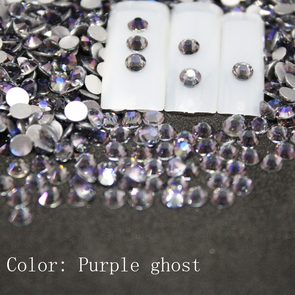 SS3-SS34 Purple ghost Rhinestones Back Flat Round Nail Art Decorations And Stones  Non Hotfix Rhinestones Crystals for DIY Glass 7b0160085572