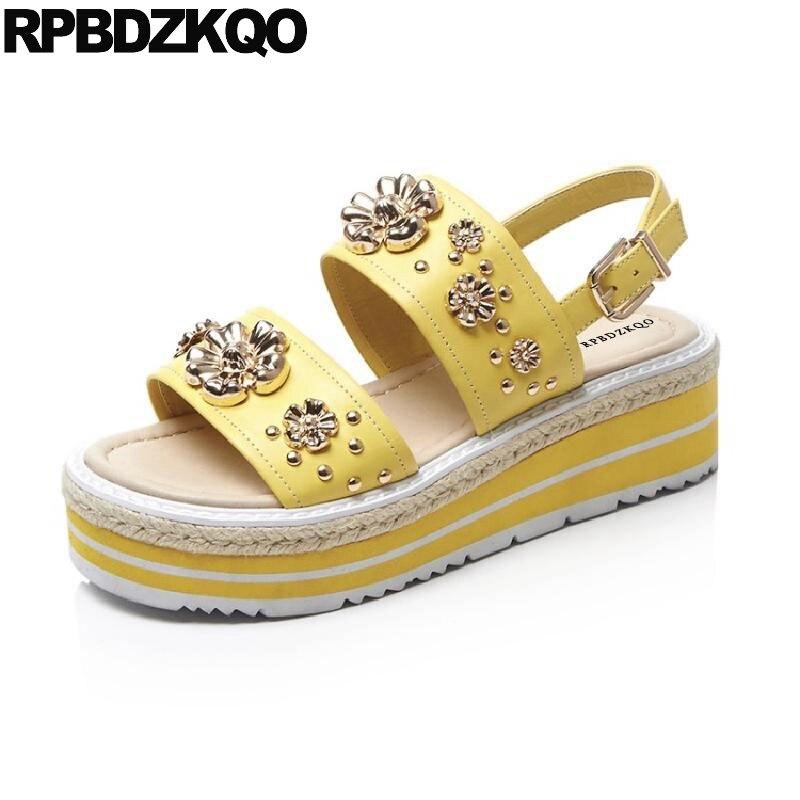Здесь продается  Yellow Two Strap Sandals High Heels Runway Stud Wedge Flatform Women Ladies Pumps Rope Shoes Embellished Summer Platform Flower  Обувь