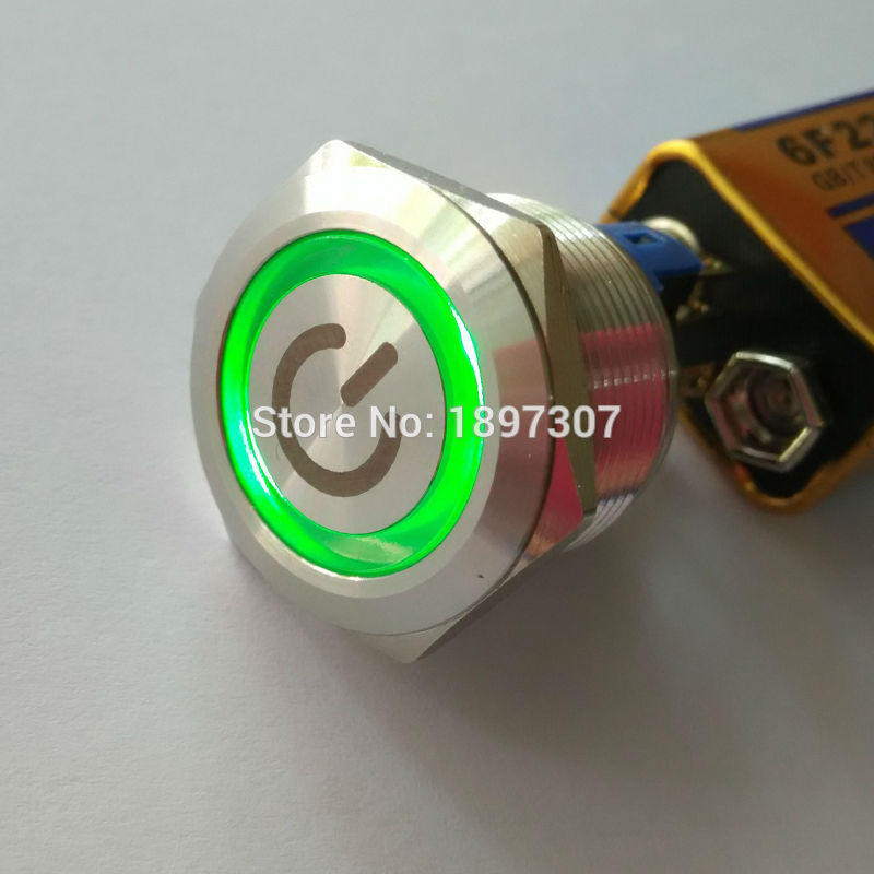 22mm Reset Momentary 1NO1NC Green Ring Illuminated Metal Pushbutton Switch with customised Laser Mark