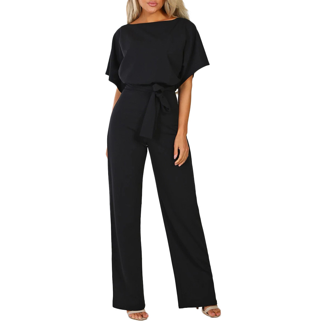 Rompers   Jumpsuit   Overalls For Women Office Lady Sashes Elegant Loose Straight Short Sleeve Long Leg Kombinezony Vestido Femme