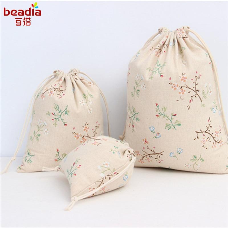 3 Size Cotton Branch Flower Pattern Linen Bag Drawstring Bag Tea ...