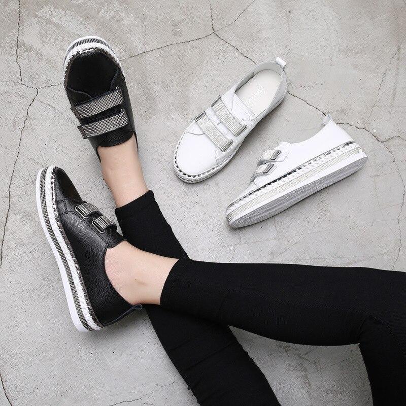 Yu Kube Crystal Genuine Leather sneakers Loafers Shoes 2020 HOOk&LOOP Woman platform Flats Ladies white Walking shoes 5