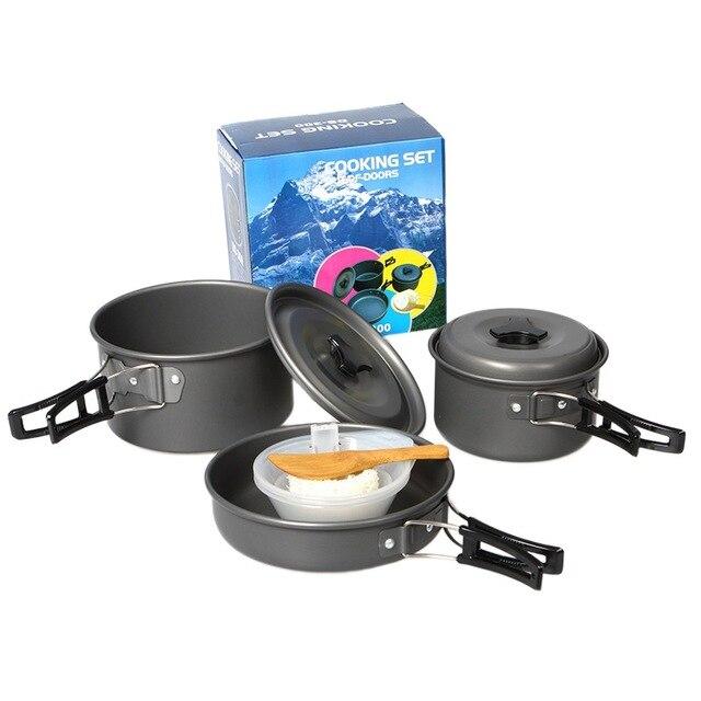 1804c32e28d 2-3 people outdoor camping pot Cookware Set Pot Pan Camping Cooking Cook Kit  Cauldron