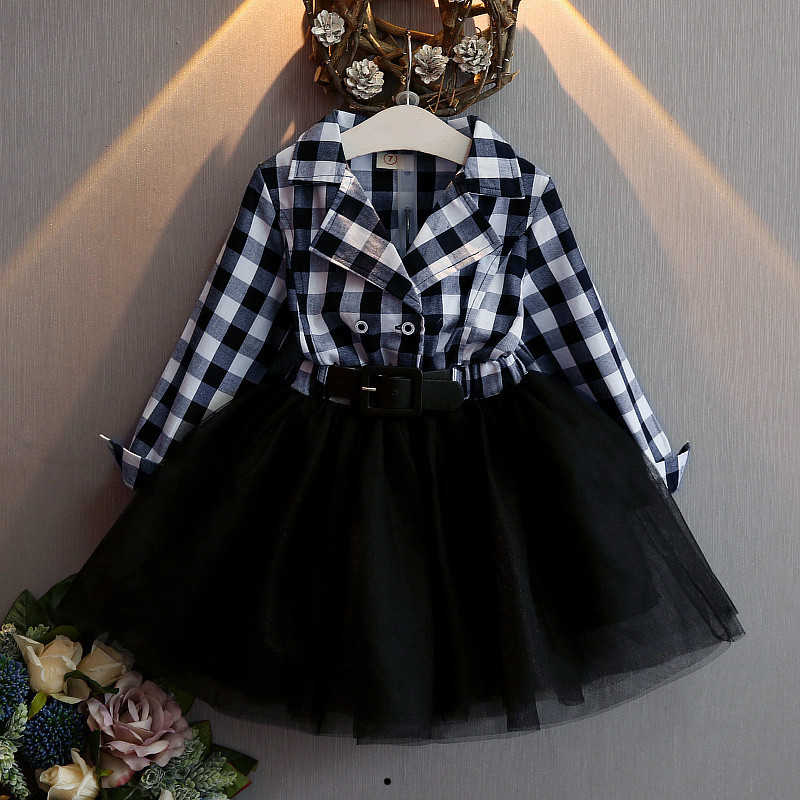 Retail Free shipping 2017 New Spring Autumn Red Checkered Plaid Baby Girls Toddlers Dress Long sleeve tutus 2-7 years 2 colors free shipping 1pc retail 2016 spring girls fashion white with black star leggings