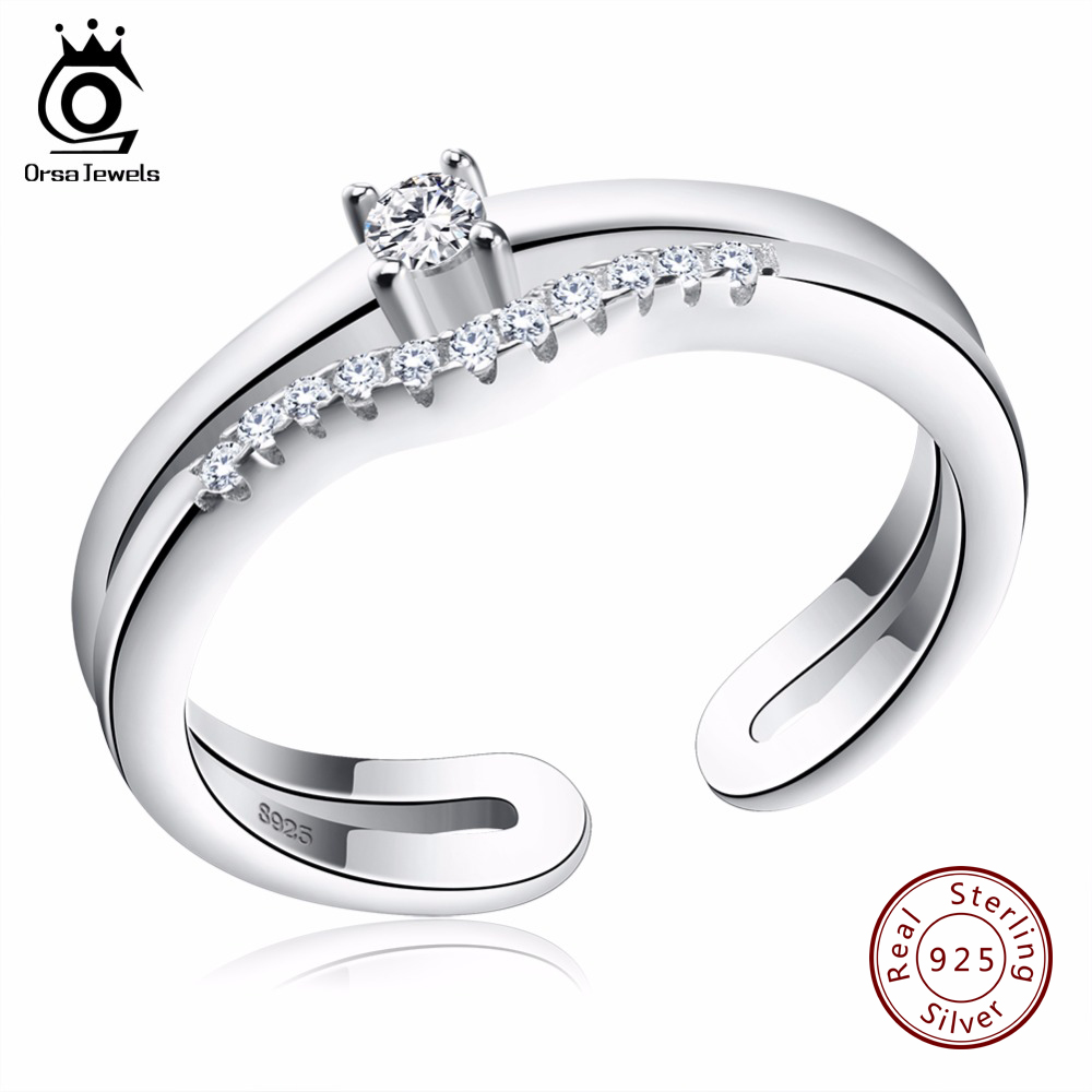 ORSA JEWELS 2017 Luxury AAA Austrian Cubic Zirconia 925 Rings Genuine Sterling Silver Ring Fashion Jewelry