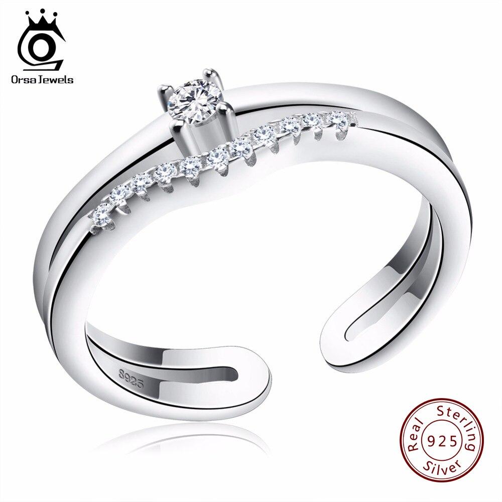 ORSA JEWELS 2019 Luxury AAA Austrian Cubic Zirconia 925 Rings Genuine Sterling Silver Ring Fashion Jewelry For Women SR19