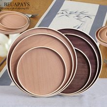 5pcs Wood Crafts New Simple Round Wooden Plate Wood Dim sum Hotel Plate restaurant DIY wedding decoration for home festival gift gran canaria sum festival 2018
