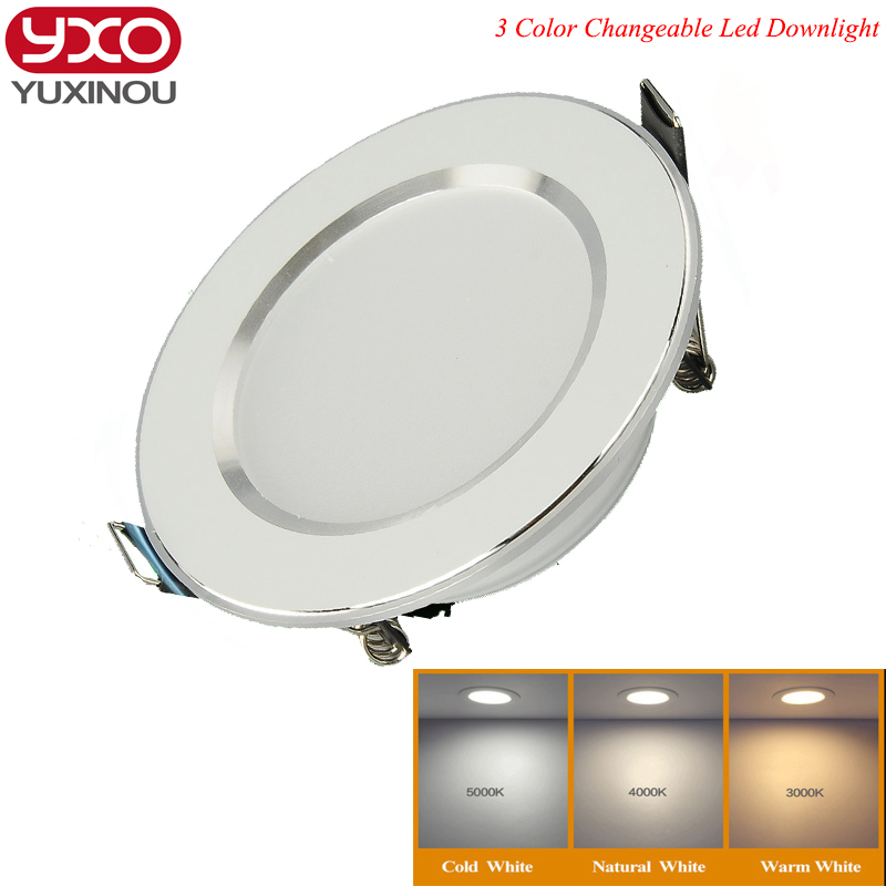 1pcs Changeable Led Downlight 5w 7w 9w 12w Ceiling Recessed Light Silver Frame 3 Color Change Warm Nature Cool White AC180-240V(China)