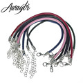 Awaytr Newest 10pcs/lot Mix Color Real Leather Bracelet Cord 16cm-24cm Fit Charm Beads DIY Clothing Craft Wholesale