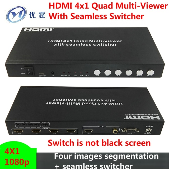 Four Quad Multi-Viewer With Seamless Switcher 4x1 Four images segmentation + seamless switcher No black screen 1080P