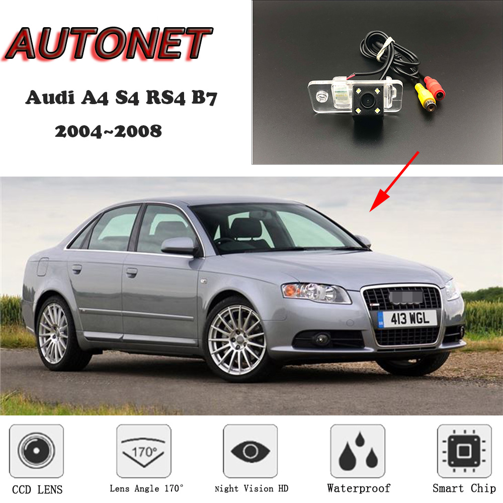 AUTONET HD Night Vision Backup Rear View camera For Audi A4 S4 RS4 B7 2004 2008 /License Plate camera