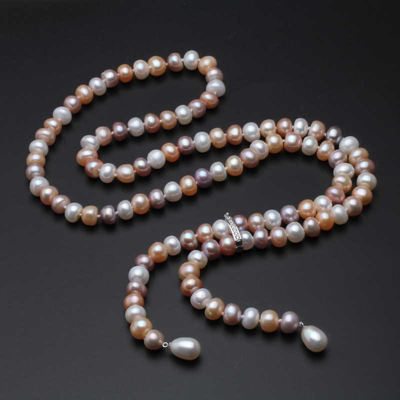 養殖リアルロングパールネックレス 100% 本物の淡水真珠のネックレスファッションジュエリーギフトホット販売布アクセサリー