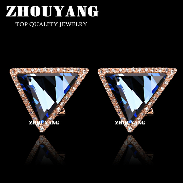 Top Quality E503 Luxury Triangle Blue Crystal  Rose Gold Plated Stud Earrings Jewelry   Austrian Crystal  Wholesale