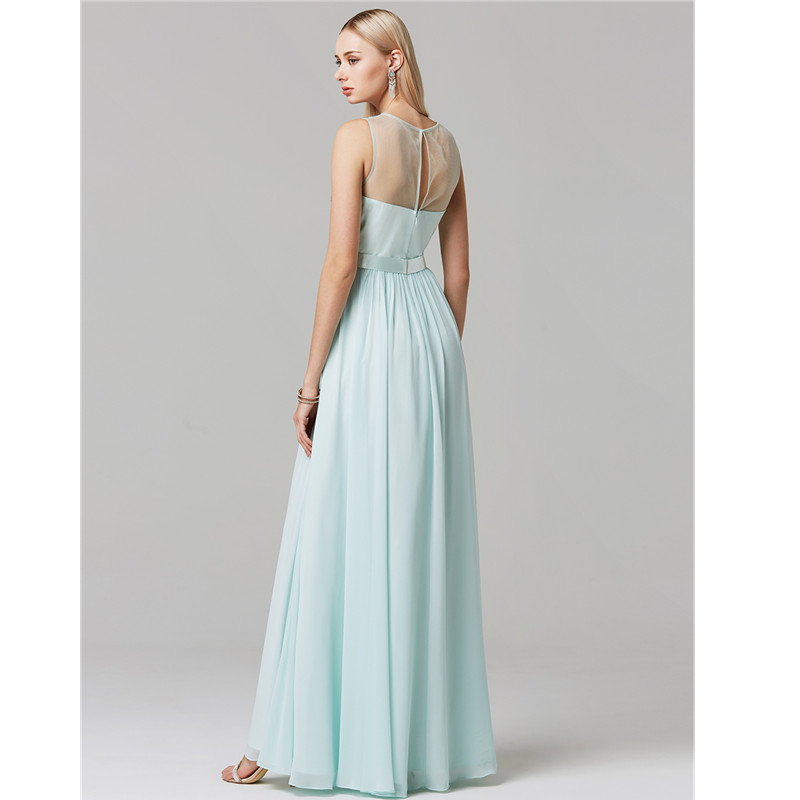 TS Couture Princess Illusion Neckline Floor Length Chiffon Tulle Cocktail Party / Graduation / Formal Graduation/ Holiday Dress