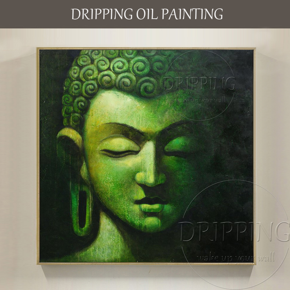 Top Skilled Artist Hand-painted High Quality Buddha Figure Oil Painting on Linen Canvas Wonderful Buddha Portrait Oil Painting