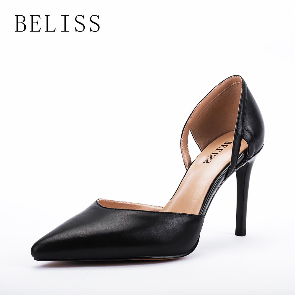 BELISS fashion pumps women shoes high heel elegant ladies genuine leather pointed toe wedding shallow X5