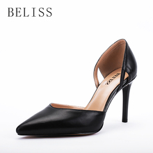 цена на BELISS fashion pumps women shoes high heel elegant ladies pumps genuine leather pointed toe wedding women shoes pumps shallow X5