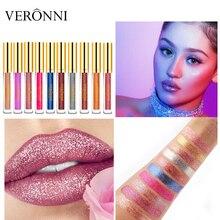 VERONNI Batom Matte Liquid Lip Gloss Waterproof Make up Cosmetic LipGloss Long Lasting Beauty Glitter Tint stick kit