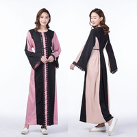 Plus Size 2018 Adult Lace Cotton Liene Abaya Ruffles Stitching Musulmane Turkish Abaya Muslim Robes Prayer Worship Service
