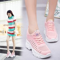 New Platform Sneakers Women Thick Sole Running Shoes breathable white shoes female flying woven new cold sticky minimum hot sale