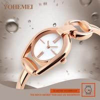 New Design Rose Gold Alloy Strap Watches Women Top Brand YOHEMEI Luxury Casual Clock Woman Wrist