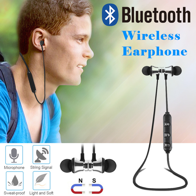 Universal Wireless Magnetic Bluetooth Earphone Wireless Sports Headphones Stereo Bass Music Earpieces with Mic Headset