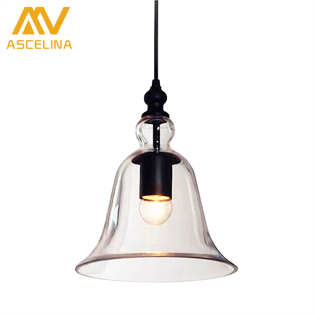 Traditional industrial clear glass shade pendant hanging light e27 traditional industrial clear glass shade pendant hanging light e27 bell type antique chandeliers small bell in pendant lights from lights lighting on arubaitofo Choice Image