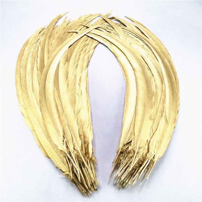 Оптовая продажа 50 шт 100 шт 40 80 см 16 32 дюймов Натуральные окунутые золотые серебряные перья из хвоста фазана стильные шлейфы свадебные украше