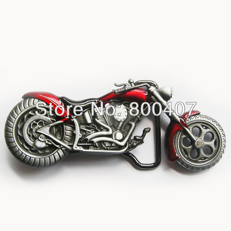 Wholesale Retail Vintage Red 3D Heavy Metal Motorcycle Rhinestone Belt Buckle BUCKLE-AT072RD In Stock Free Shipping