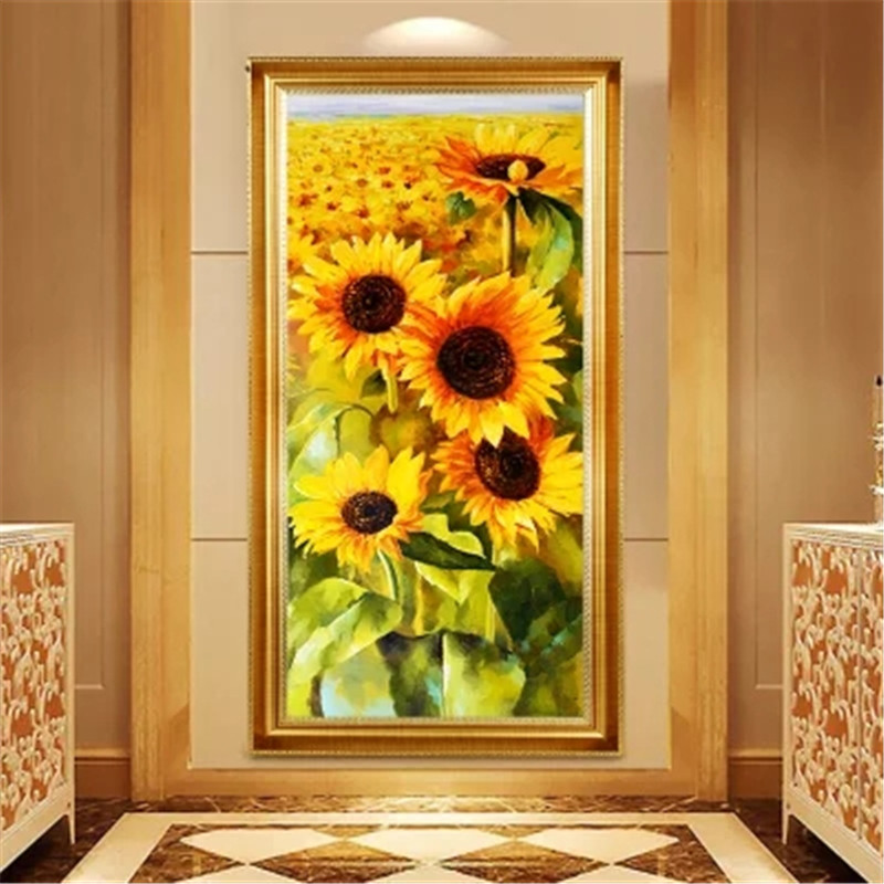 DiamondEmbroidery China landscape scenery Sunflower 5D Full Diamond Painting Flower Cross Stitch Diamond Mosaic Decoration in Diamond Painting Cross Stitch from Home Garden