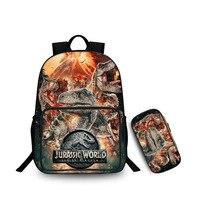 27 Type Jurassic monster World Park Backpack with Zipper Pencil case Dinosaur pattern knapsack Schoolbag Toys Gift For Children