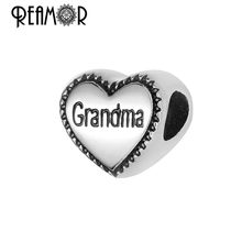 Reamor On Sale 5pcs 316l Stainless Steel Grandma Beads Lovely Heart Metal Charms Beads For Bracelet Bangle DIY Jewelry Making(China)