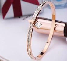 Горячая Распродажа цельные камни с замком розовое золото цвет/серебряный