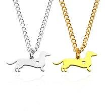 цена на Simple Dachshund Dog Sausage Dog Shape Openwork Love Pendant Necklace Metallic Gold Optional Jewelry Direct Sales