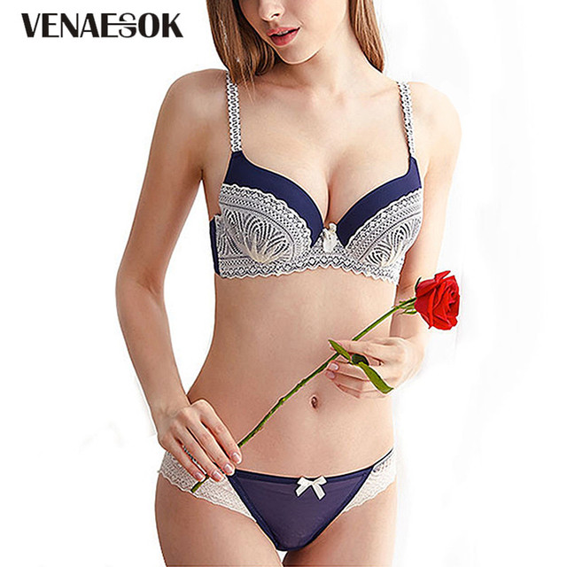 f60d01d2fd Hot Sexy Push Up Bra Set Deep V Brassiere Thick Cotton Underwear Women Set  Embroidery Lingerie Lace Bras Panties Set B C Cup