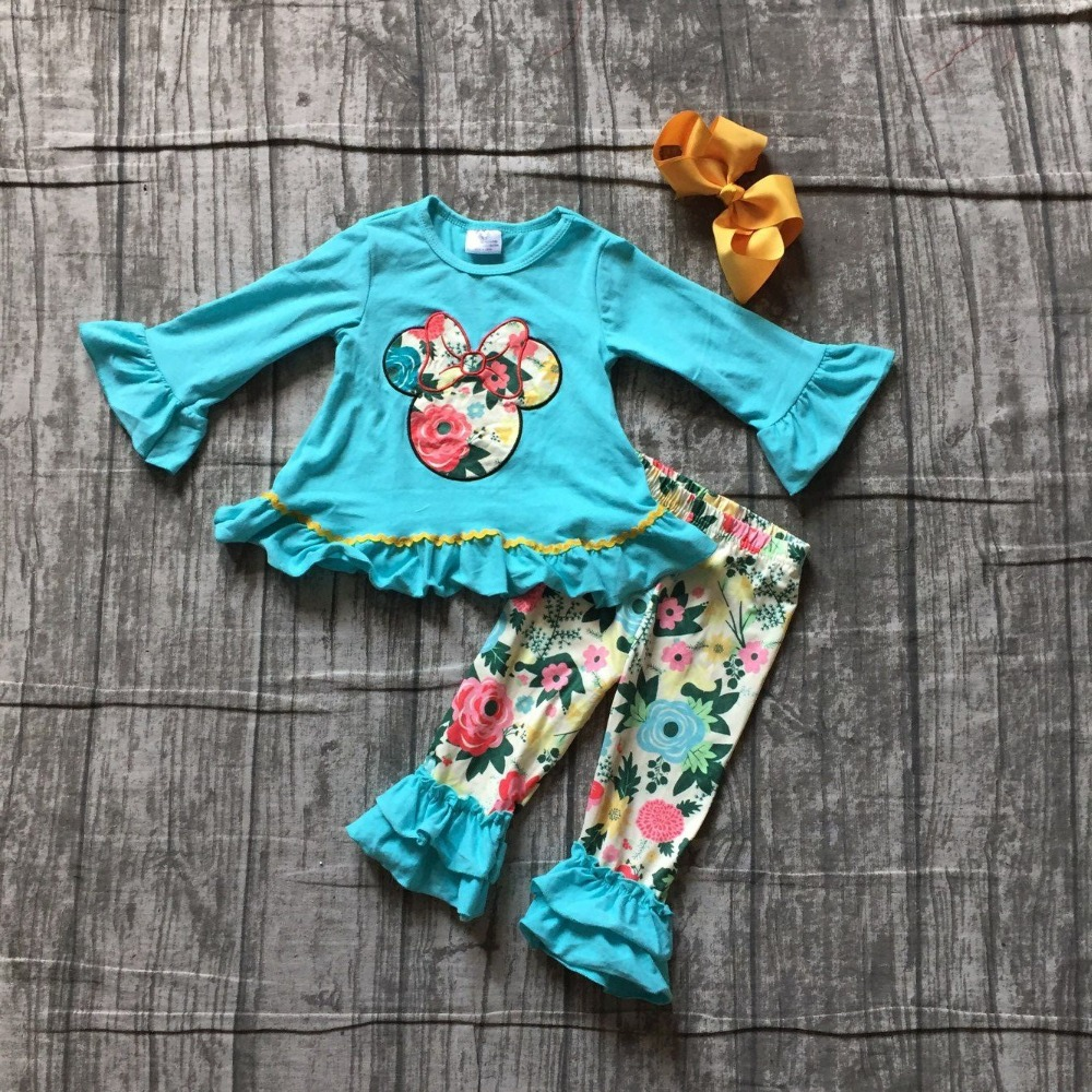 new Fall/winter baby girls mouse lake blue outfit boutique floral pant cotton children clothes milk silk ruffles match with bow summer design baby girls baseball season style boutique ruffles cotton capri striped belt outfit clothes matching accessories