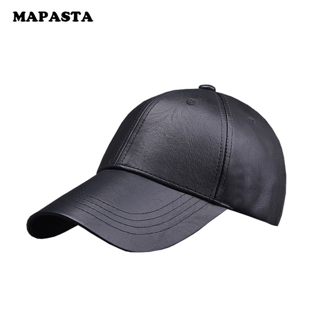 MAPASTA autumn and winter new wave of PU leather cap men and women fashionable solid baseball hat