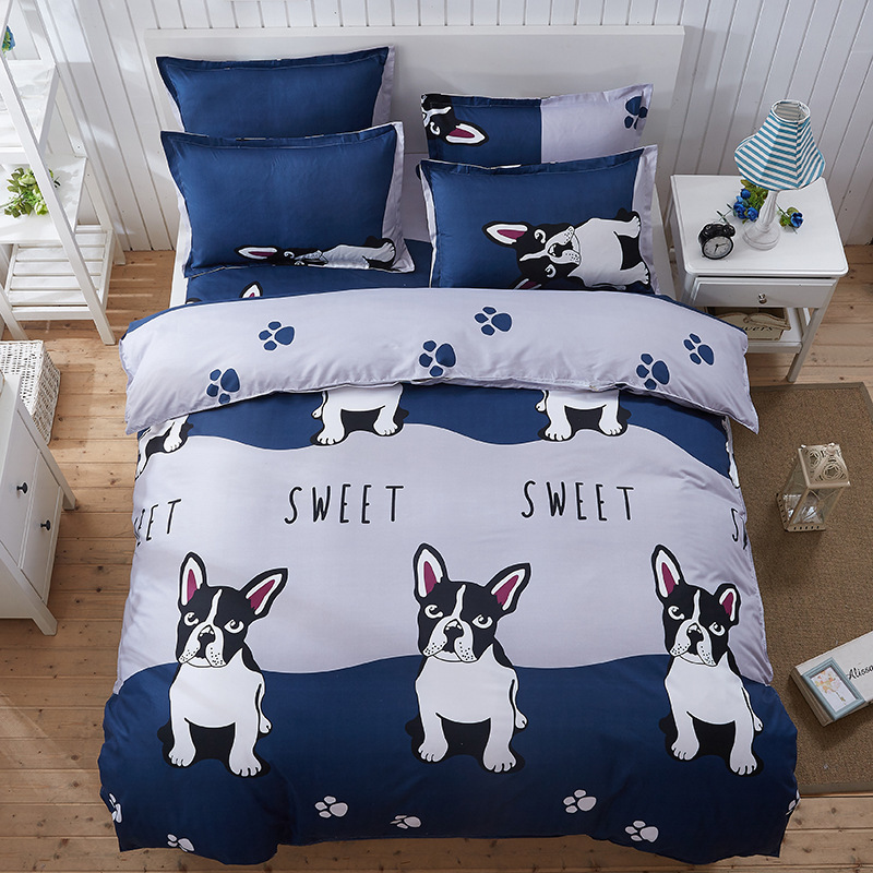 Cute cartoon dog scenery love English Japan 4pcs/3pcs Duvet Cover Sets Soft Polyester Bed Linen Flat Bed Sheet Set Pillowcase ...