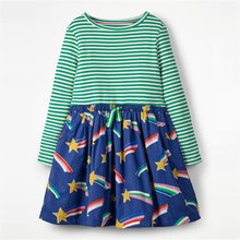 Littlemandy Green Striped Stars Long Sleeve 2018 Brand Autumn Party Dresses Baby Girls Costumes For Kids Clothes Princess moana