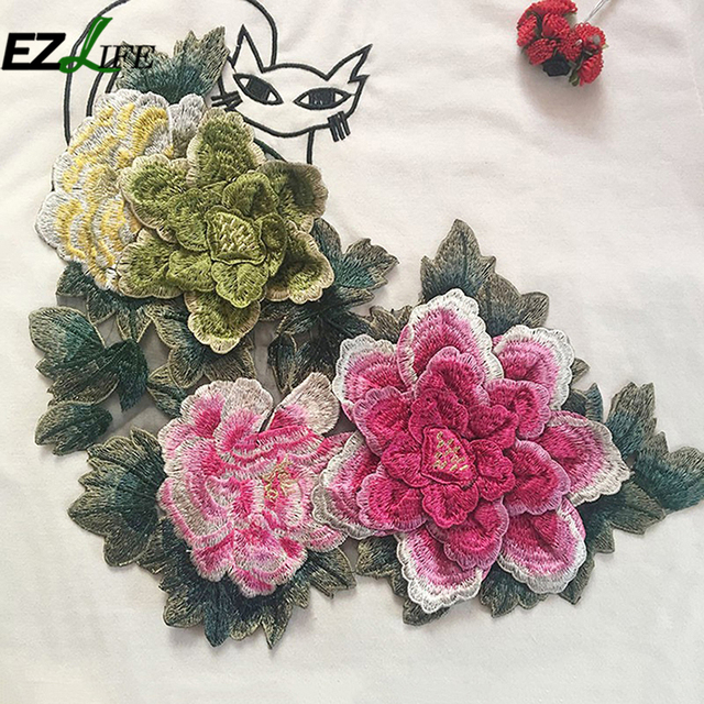 Patrón de flor del Peony Applique parches camisa bordado parches ...