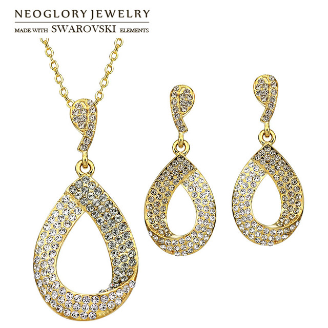 Neoglory Austria Rhinestone   Rhinestone Jewelry Set Classic Water Drop  Style Light Yellow Gold Color Necklace   Earrings Palace 3ecd99bf658f
