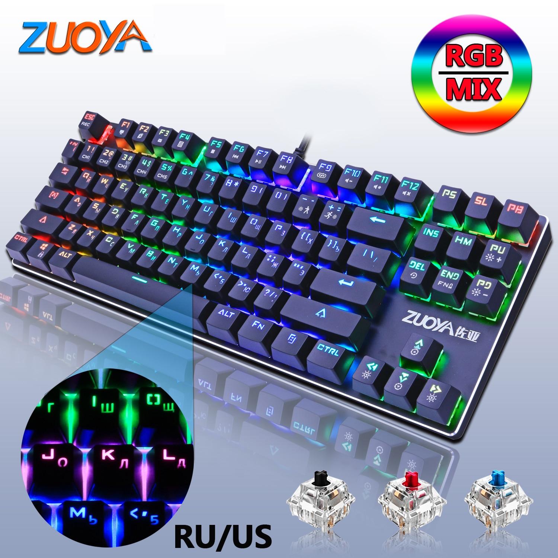 Teclado mecânico do jogo retroiluminado teclado vermelho azul interruptor 87key anti-ghosting led usb prendido rússia/eua para o portátil do computador portátil do jogador