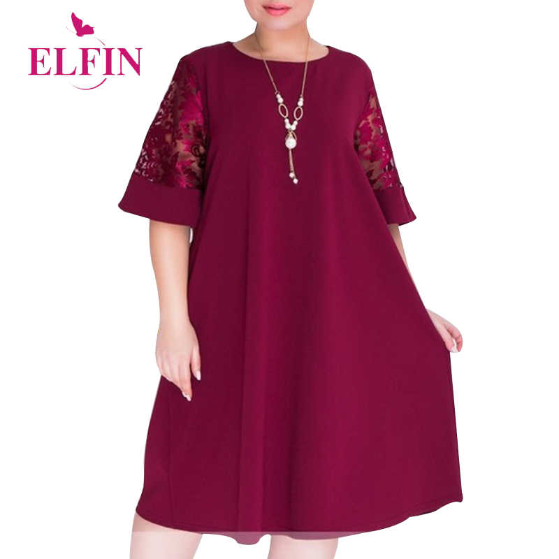 Elegant Women Dress Lace 3/4 Sleeve Spring Summer Dress Large Size Party Solid Loose Casual Robe Vestidos Verano 2018 SJ1221R