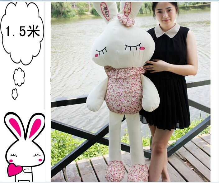 150 cm rabbit plush toy pink or purple Floral cloth love rabbit doll throw pillow gift w4993 metsan mts 150 purple
